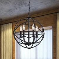 Metal globe chandelier