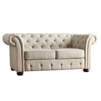 Tufted beige linen sofa