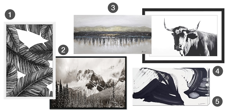 A collection of large-scale wall art