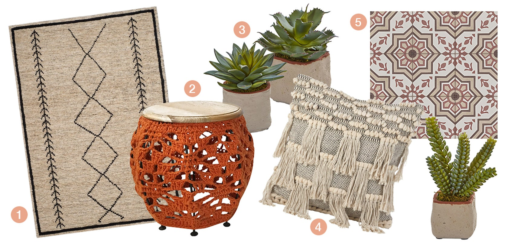 A collection of updated global products, a global tile, a boho throw pillow, a boho/southwest area rug, a collection of succulent plants, a macrome accent table