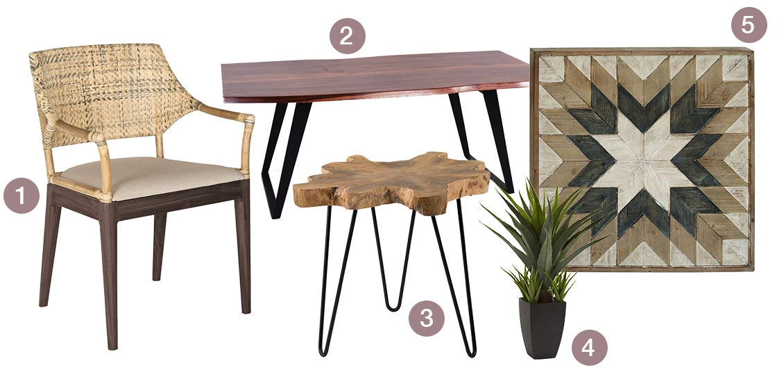 A collection of elevated organic products, a live-edge dining table, a teakwood accent table, a rattan accent chair, a silk plant, a piece of wood wall art