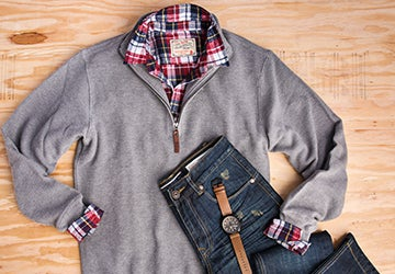 A collage of mens clothing and a watch, these are great Valentine's Day gifts for him