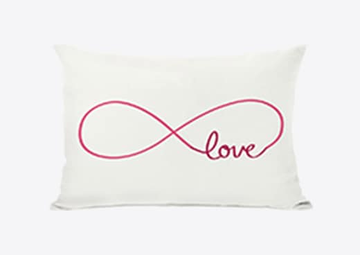 A love infinity lumbar throw pillow, a great Valentine's Day gift