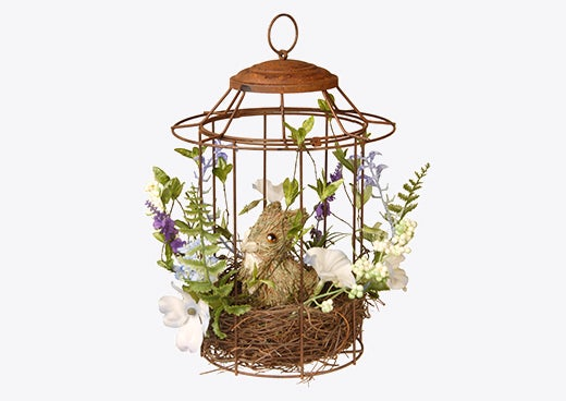 A birdcage with a bunny inside, a perfect piece of easter décor