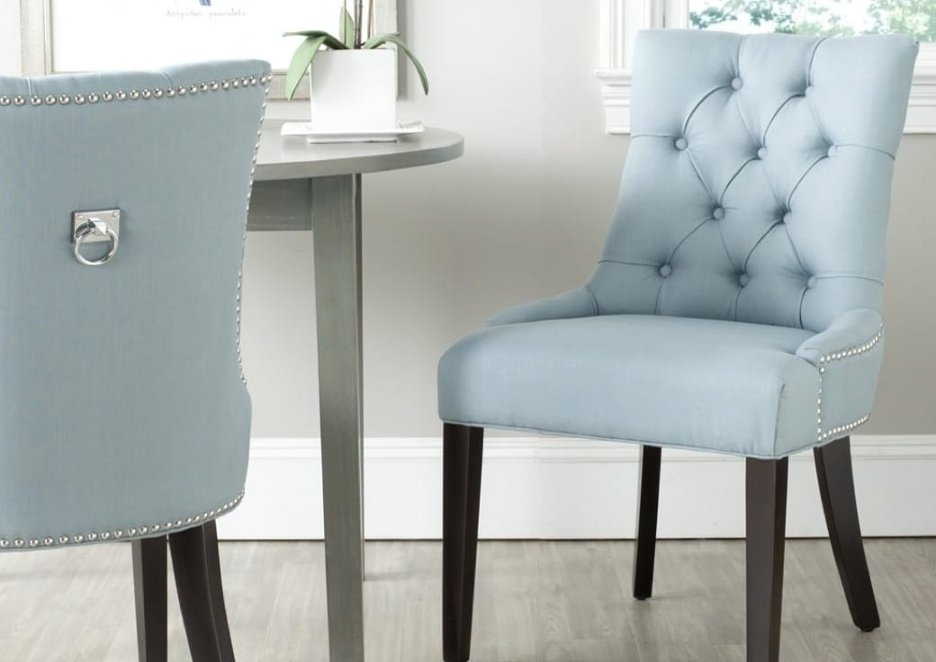 Light blue tufted dining chairs