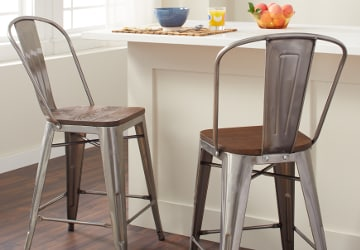 Metal bar stools with wooden seats in a white kitchen