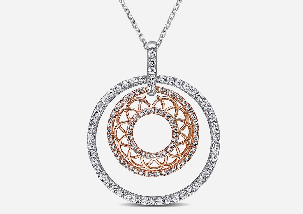 Rose gold and diamond round necklace