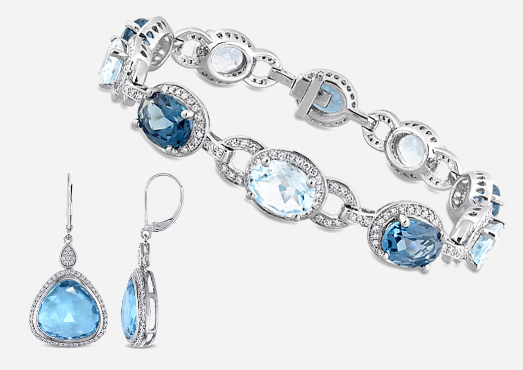 Blue stone and diamond earrings and bracelets