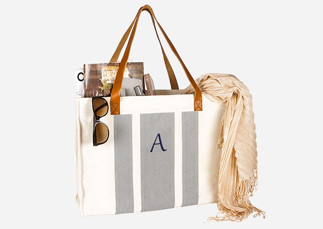 Monogrammed white and grey stripped tote