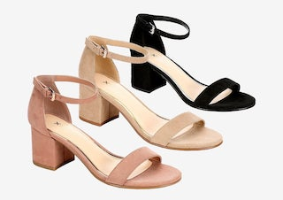 Women's heeled sandals in blush, tan, and black