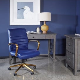 Faux leather office chair in navy blue by OSP Home Furnishings