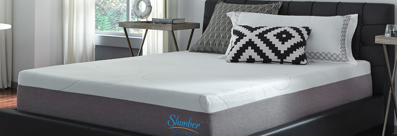 Slumber mattress in black bedframe