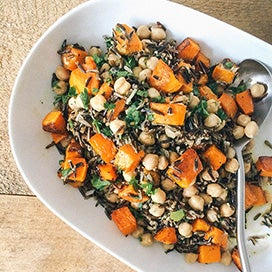 Roasted Butternut Squash & Wild Rice with Tahini Dressing