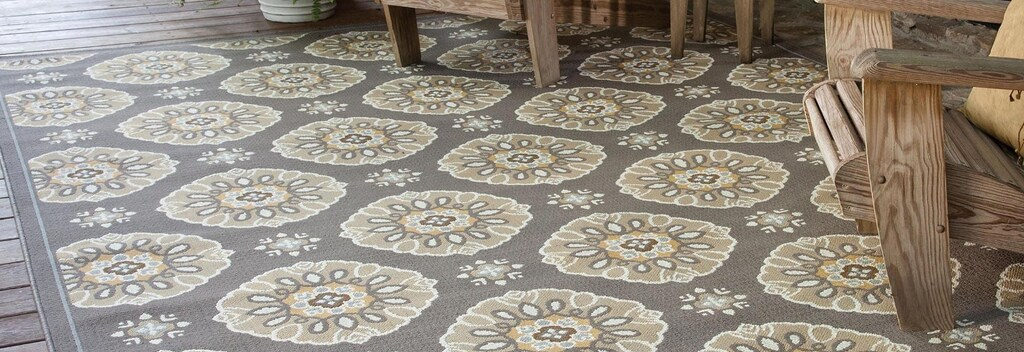 Grey and gold floral pattern outdoor rug