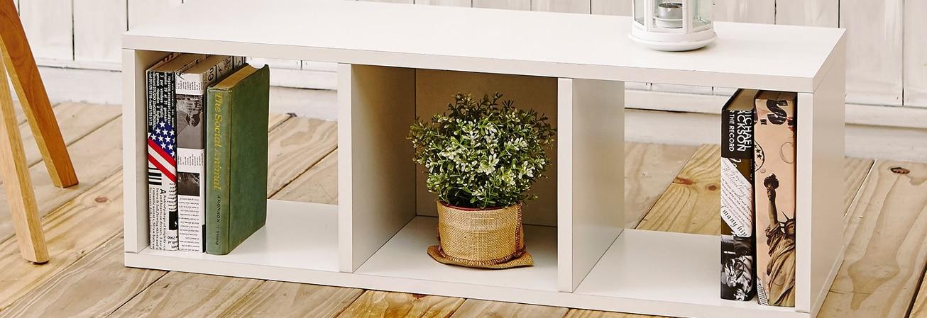 White decorative floor shelf