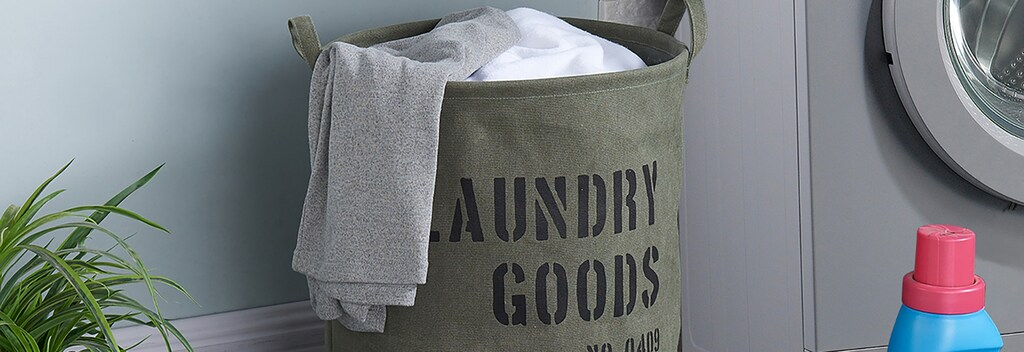 Laundry goods printed fabric hamper
