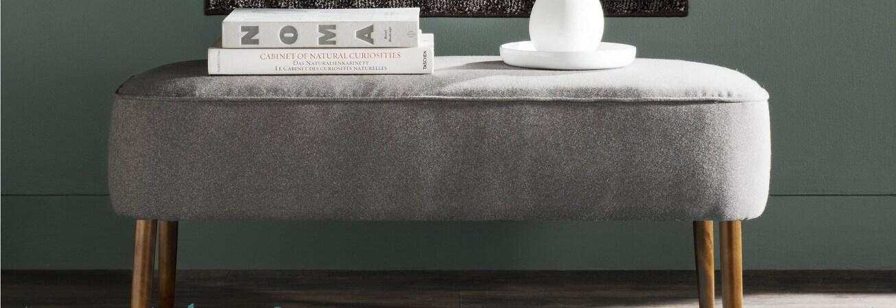 Grey mid century modern settee
