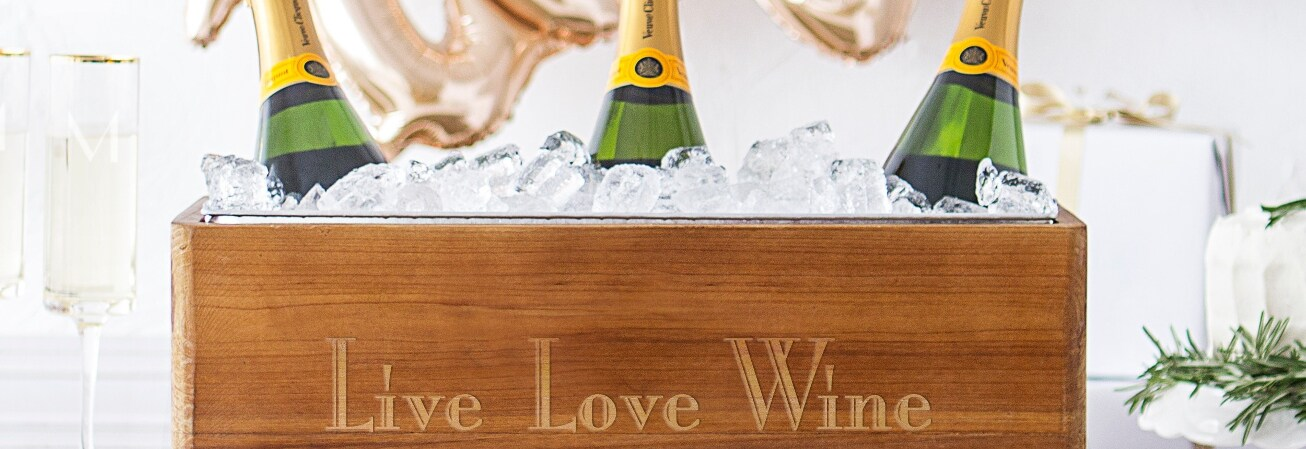 Live Love Wine printed wine wood bucket