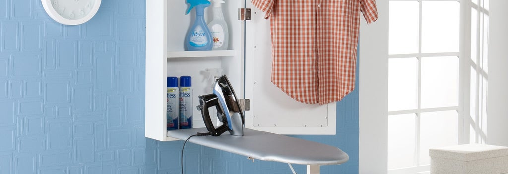 Ironing board with iron laundry room