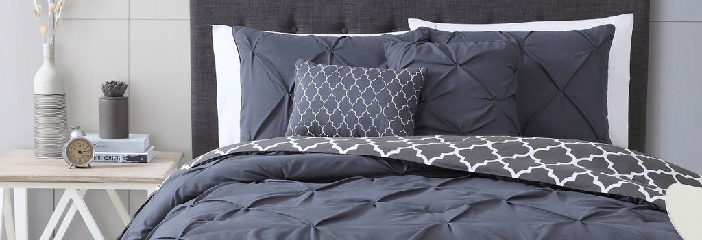Grey bedding and grey bedframe