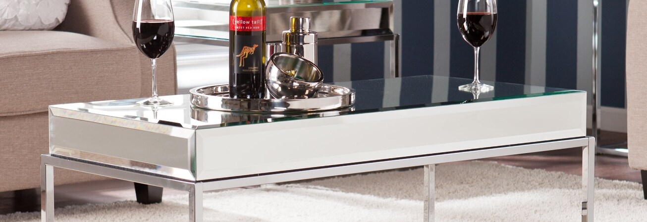 Silver glass cocktail table