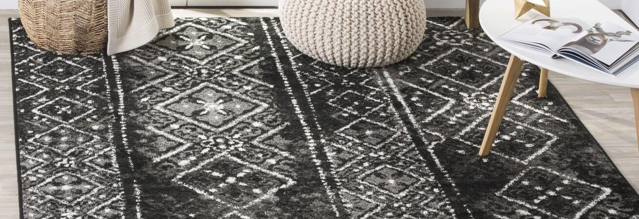Black and white geometric area rug