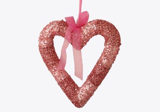 Pink Glittered Valentine's Day Heart Wreath