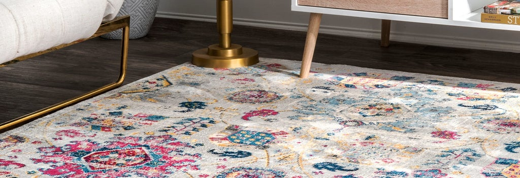 Pink and blue bohemian rug