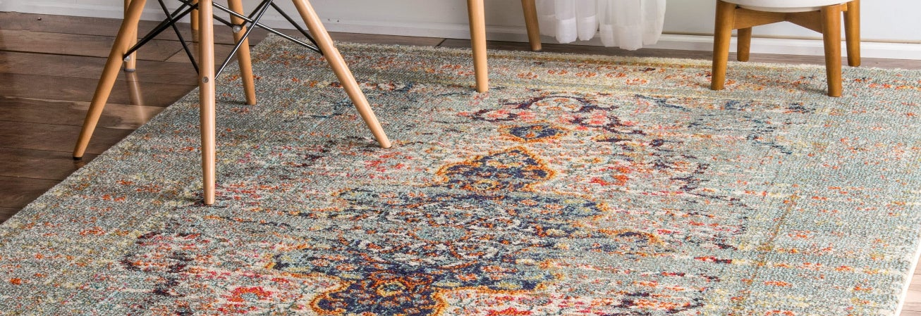 Multicolored oriental area rug