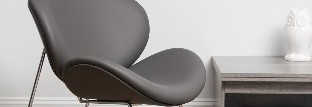 Grey leather modern and contemporary chair
