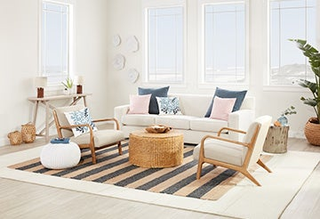 Modern living room with a couch, coffee table atop a striped rug and nautical-themed accents
