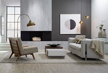 Simple and minimalist living room with clean lines and black, white and grey palette