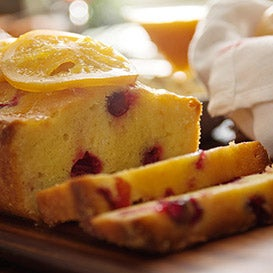 Cranberry Pound Cake with Candied Oranges