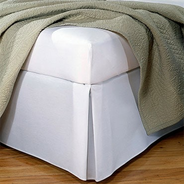 White, tailored bed skirt