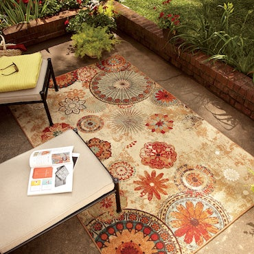 Earth-toned Floral Pattered Outdoor Area Rug