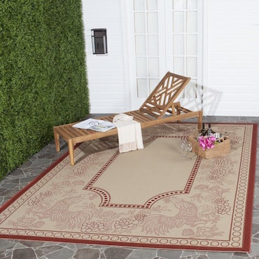 Rectangular Red and Beige Area Rug