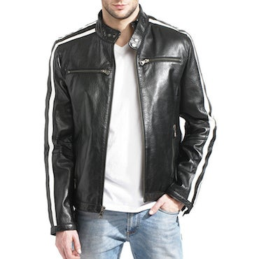 Motorcylce-Style Men's Black Leather Jacket