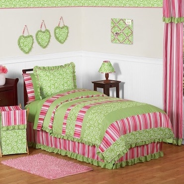 Pink and Green Kids' Bed Skirt