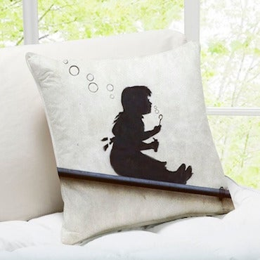 Decorative Throw Pillow with Girl Blowing Bubbles