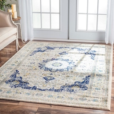 Large, Blue and White Area Rug