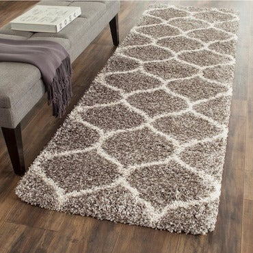 Brown and White Patterned Runner Area Rug