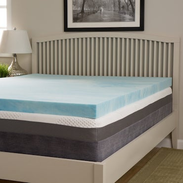 Layers of memory foam on bed