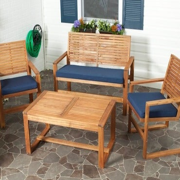 Wood Patio Set with Blue Cushions