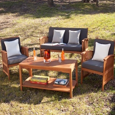 Black and White Cushioned Patio Set