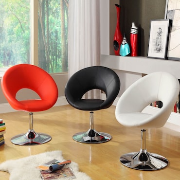 Red, Black, and White Faux Leather Chairs