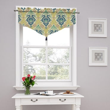 Green and White Ascot Valance