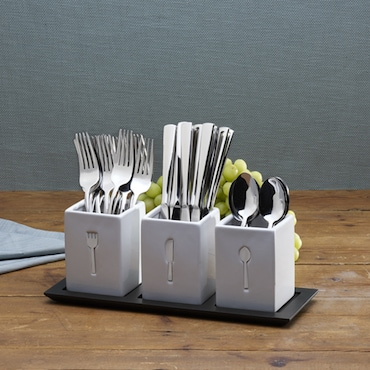 Flatware set in White Square Holders