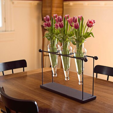 Clear Vases in Black Holder