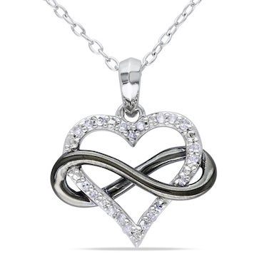 Silver and Black Heart Necklace