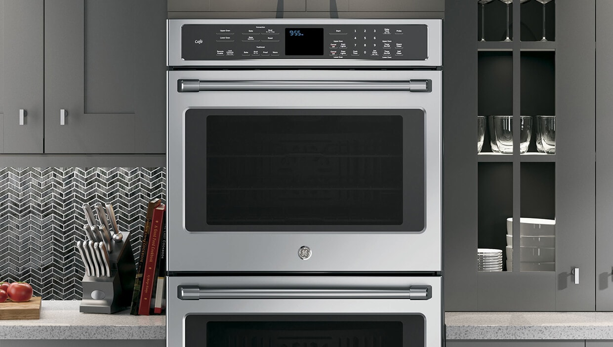 GE stainless steel double oven in kitchen